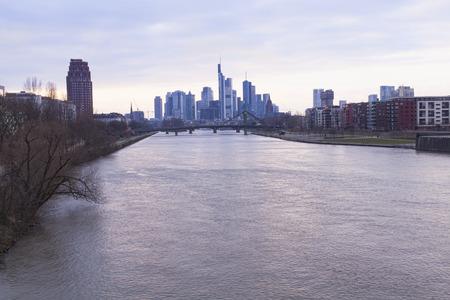 river main: Frankfurt city skyline and river Main Stock Photo