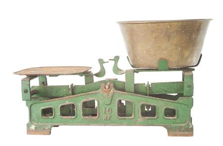 weigh machine: Old balance scale Stock Photo
