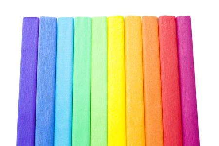 abstract rainbow: crepe color paper isolated on white Stock Photo