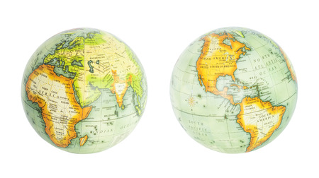 globo terraqueo: Globo de la tierra del mundo aislado en blanco Foto de archivo