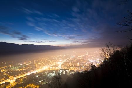city scene: Piatra Neamt city at night Stock Photo