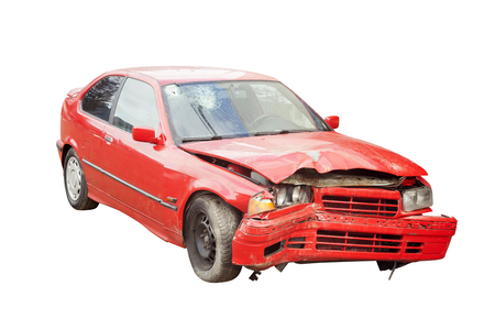 wrecked red car in accident Stock Photo
