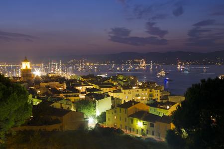 tropez: Saint Tropez city at night