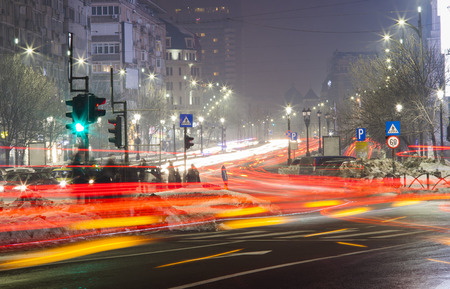 night traffic in Bucharest city Stock Photo