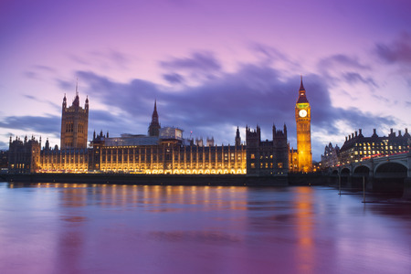 Big Ben and Houses of Parliament in a fantasy sunset landscape, London City. United Kingdom Stock Photo
