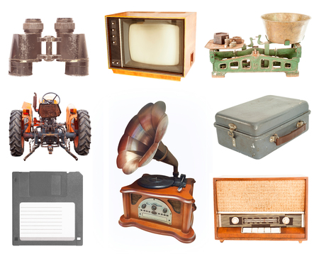 old items: set of vintage and retro items isolated on white background