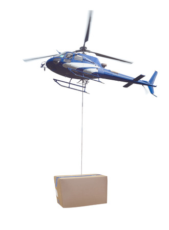 helicopter and package delivery of box isolated on white background