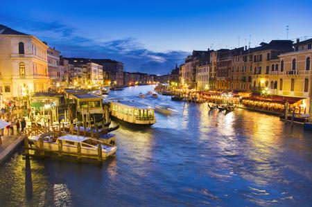 Venice city at night, Italy. Grand canal Stock Photo