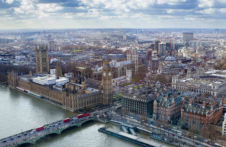 aerial view of Big Ben and London city Stock Photo