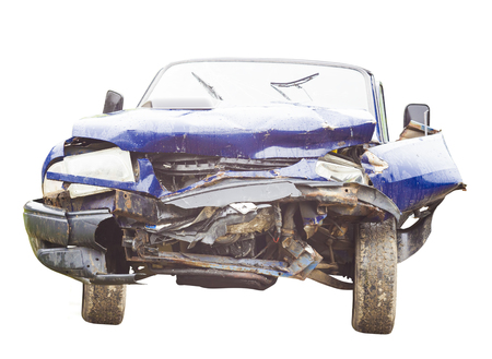 damaged car after an accident Stock Photo