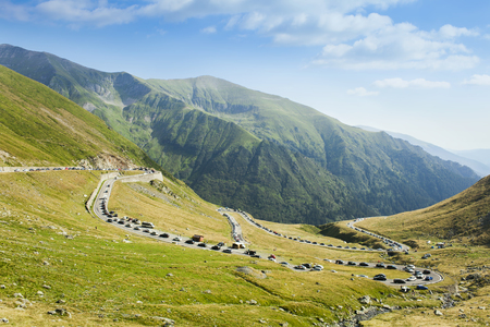 traffic jam on Transfagarasan mountain road, Romania