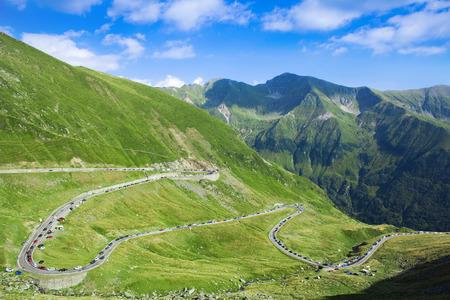 slow motion: traffic jam on Transfagarasan mountain road, Romania