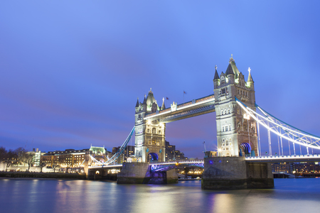Tower Bridge in London city, evening scene Stock Photo