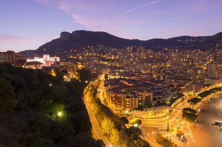 Monte Carlo city at night, Monaco Stock Photo