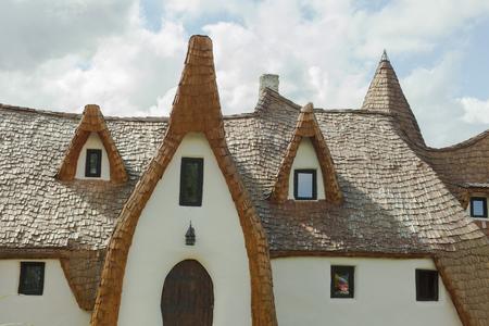 clay castle in Porumbacu de Sus, Romania Stock Photo