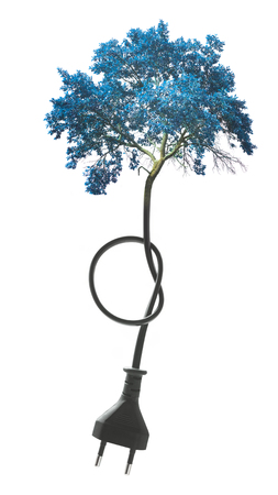 abstract blue tree and plug in wire concept isolated on white