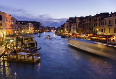 Grand Canal in Venice, Italy. Night scene from Rialto Bridge