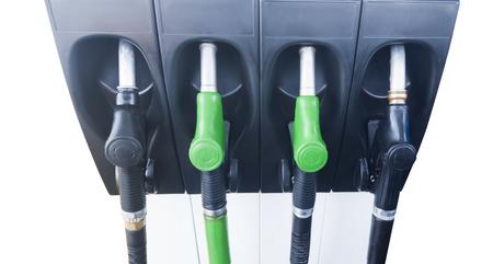 closeup of fuel pumps at gas station