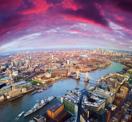 London city sunset, mystic aerial view Redakční