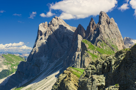 beautiful alpine landscape in Seceda Odle mountain, Italy Dolomites Stok Fotoğraf - 97442574