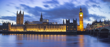 Big Ben and House of Parliament. Night scene in London city Editorial