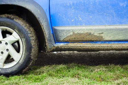 off road car detail full of mud and dirt