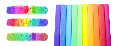crepe rainbow color paper isolated on white background