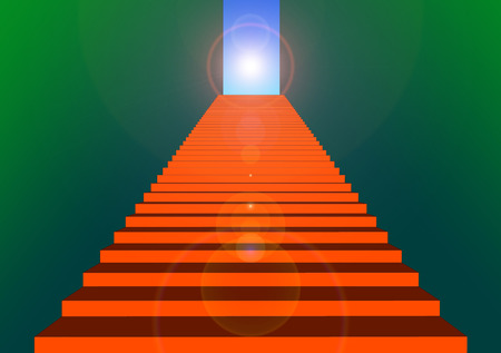 illustration of red stairs to the sky