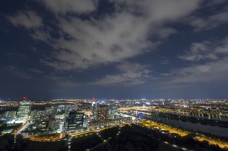 cityscape of Vienna city at night, aerial view. Austria Reklamní fotografie