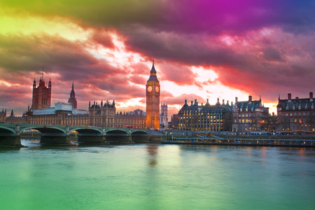 abstract colorful sunset in London city with Big Ben skyline