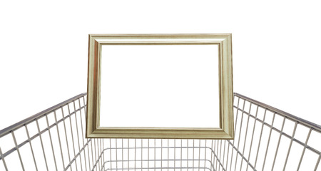 empty shopping cart with white frame for text isolated