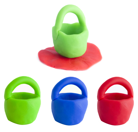 set of plasticine bucket in colors isolated