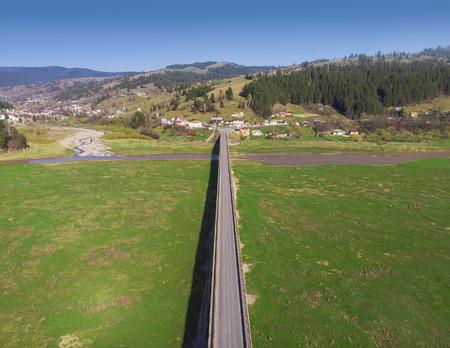 aerial view of long bridge in Romania Stock Photo