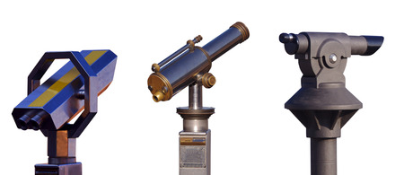 set of binoculars for tourists view isolated on white background