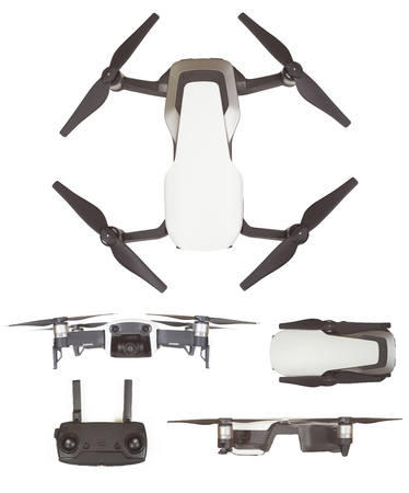 set of quadcopter drone for hobby isolated on white background Stock Photo