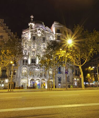 BARCELONA, SPAIN - SEPTEMBER 27 2011: Casa Batllo view at night, Barcelona. Spain