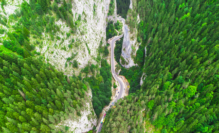 aerial view of road in Bicaz Gorges, Romania Фото со стока