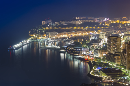 Monte Carlo city at night. Monaco Editorial