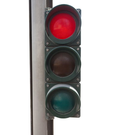 traffic light on red color isolated on white background