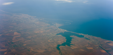 Romania Black Sea resorts of Mamaia, Constanta, Eforie Nord and Sud. aerial view from airplane Stock Photo