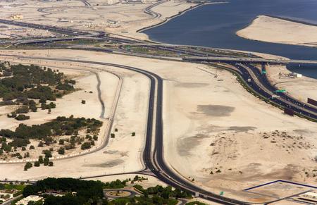 road in Dubai city. Aerial view