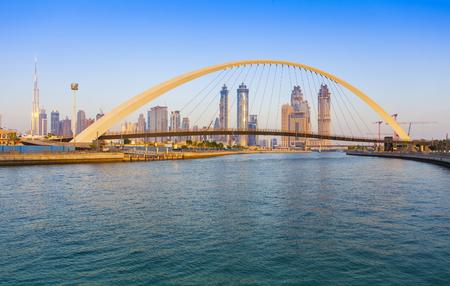Dubai city skyline at sunset. view of Tolerance bridge 版權商用圖片