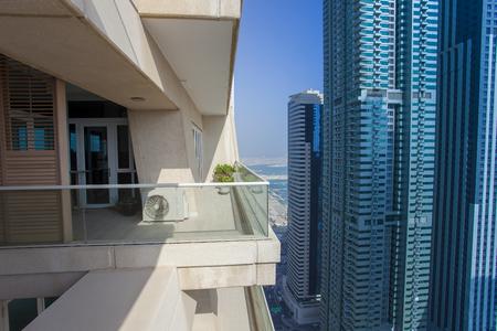 balcony at Dubai city skyscraper. UAE