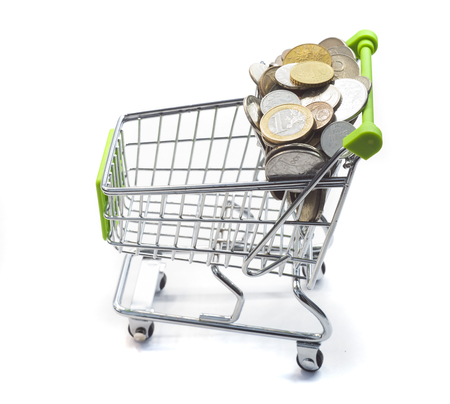 shopping cart full of money and empty list of buying items for your text 版權商用圖片