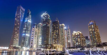 Dubai Marina city skyline at night. United Arab Emirates 版權商用圖片