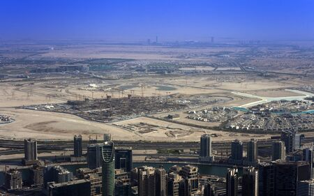 Dubai city under construction. aerial view