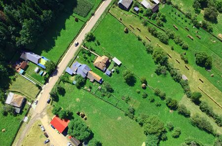 aerial view of village in the countryside. Europe Stock Photo