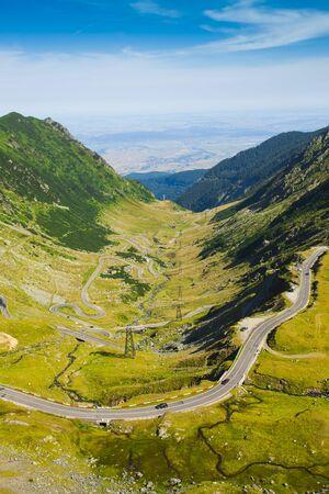 Transfagarasan mountain road in Romania. Fagaras Stockfoto - 128792127