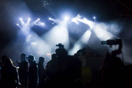 crowd of people at concert or show, night scene Stok Fotoğraf - 131847876