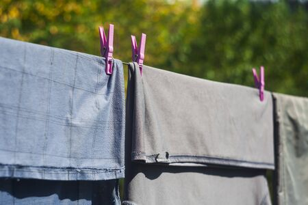 clothes on the wire for dry outdoors